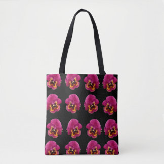 Pink_And_Black_Pansy_Magic_Full_Print_Shopping_Bag Tote Bag