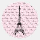 Pink and Black Paris Eiffel Tower Classic Round Sticker