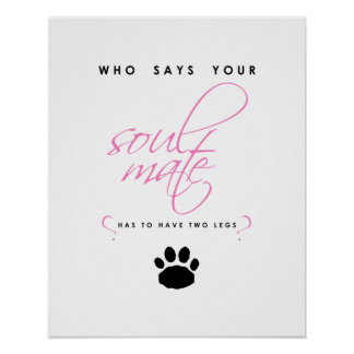 Pink and Black Paw Print Soul Mate Silhouette Pet
