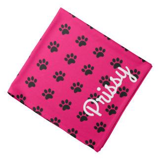 Pink and Black Paw Prints Personalized Bandana