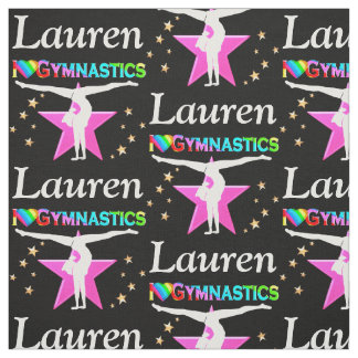 PINK AND BLACK PERSONALIZED GYMNASTICS FABRIC