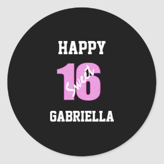 Pink And Black Personalized Sweet 16 Stickers