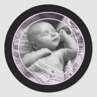 Pink and Black Photo Frame Round Sticker