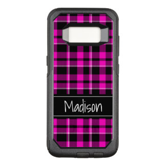 Pink and Black Plaid Modern OtterBox Commuter Samsung Galaxy S8 Case
