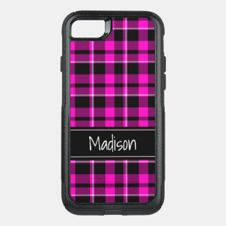 Pink and Black Plaid Modern Trendy OtterBox Commuter iPhone 8/7 Case