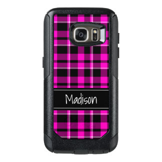 Pink and Black Plaid Modern Trendy OtterBox Samsung Galaxy S7 Case