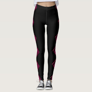 Pink and Black Plaid on Black Leggings