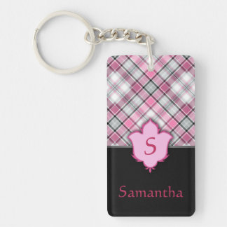 Pink and Black Plaid with Floral Element Double-Sided Rectangular Acrylic Keychain