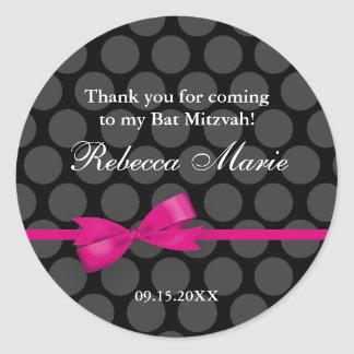 Pink and Black Polka Dot Bow Bat Mitzvah Favor Classic Round Sticker
