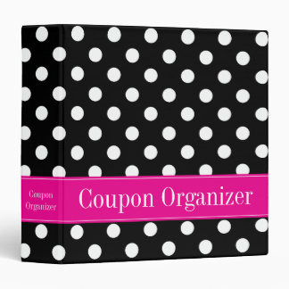 Pink and Black Polka Dot Coupon Organizer Vinyl Binder