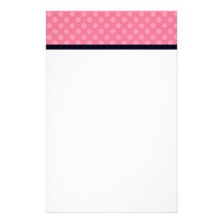 Pink and Black Polka Dot Custom Stationery