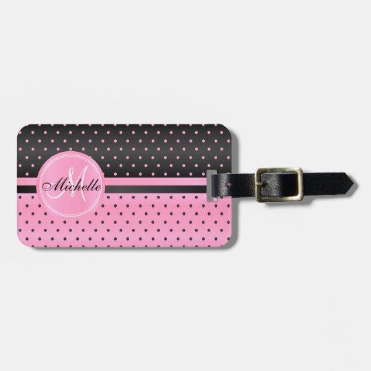 Pink and Black Polka Dot Design Luggage Tag