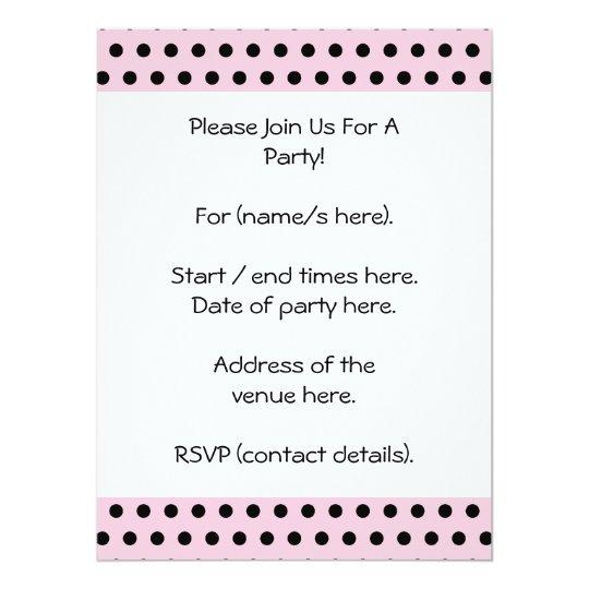 "Pink and Black Polka Dot Pattern. Spotty. 6.5"" X 8.75"" Invitation Card"