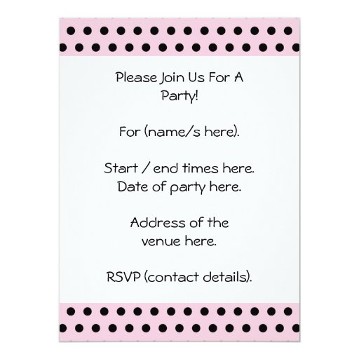 Pink and Black Polka Dot Pattern. Spotty. Personalized Invitation