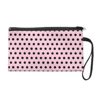 Pink and Black Polka Dot Pattern. Spotty. Wristlet