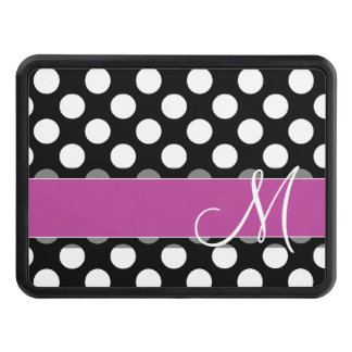 Pink and Black Polka Dot Pattern with Monogram Trailer Hitch Cover