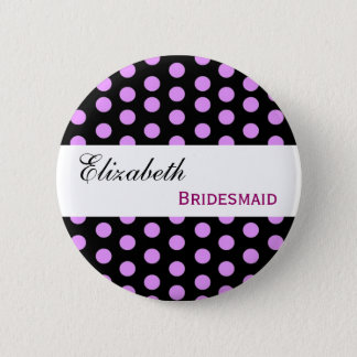 Pink and Black Polka Dots Custom Name Bridesmaid 2 Inch Round Button