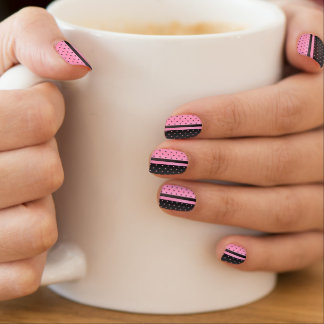 Pink and Black Polka Dots Designs Minx Nail Art