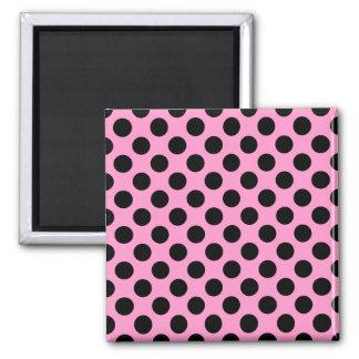 Pink and Black Polka Dots Magnet