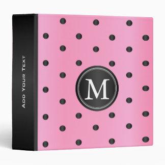 Pink and Black Polka Dots Vinyl Binders