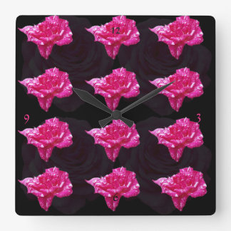 Pink And Black Rose Pattern, Square Wall Clock