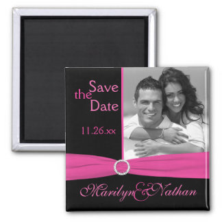 Pink and Black Save the Date Photo Magnet