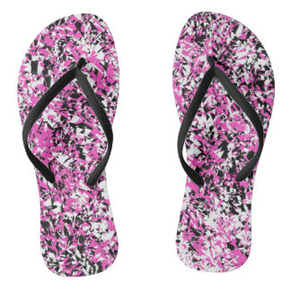 Pink and Black Shattered Glass Flip Flops