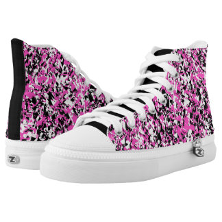 Pink and Black Shattered Glass High Tops