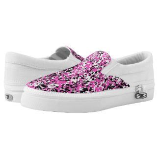 Pink and Black Shattered Glass Slip-On Sneakers