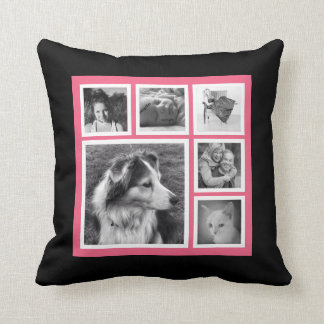 Pink and Black Six Instagram Photo Collage Throw Pillow