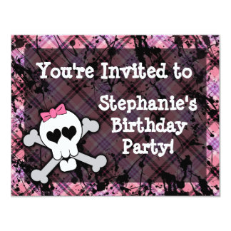 Pink and Black Skull Heart Party Invitations