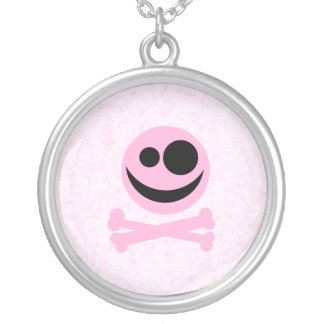 Pink and Black Skull, on a Pink Pattern. Necklace
