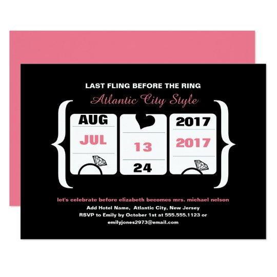 Pink and Black Slot Machine Bachelorette Card