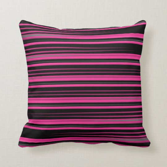 Pink and Black Smeared Lines Throw Pillow