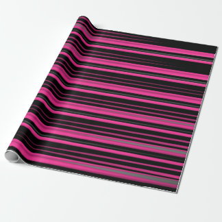 Pink and Black Smeared Lines Wrapping Paper