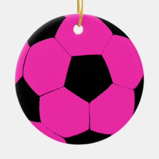 Pink and Black Soccer Ball Ceramic Ornament
