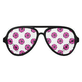 Pink and Black Soccer Ball Pattern Aviator Sunglasses