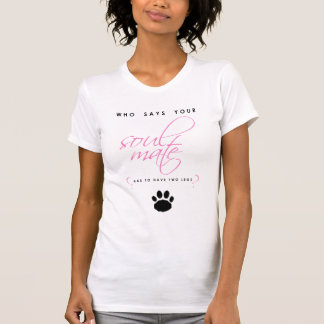 Pink and Black Soul Mate Paw Print Silhouette Pet T-Shirt
