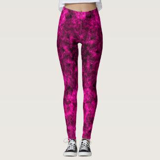 Pink and Black Sponge Painting Leggings