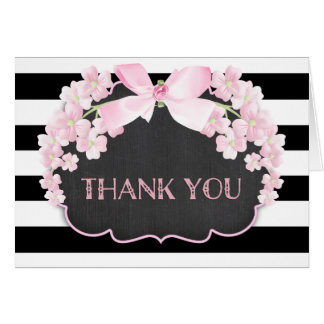 Pink and Black Stripe Floral Thank You Note Card