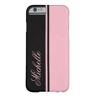 Pink and Black Stripe Monogram Barely There iPhone 6 Case