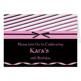 Pink and Black Striped with Bows Invitation