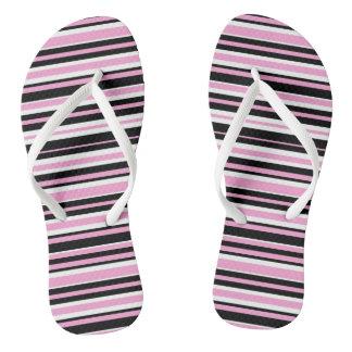 Pink and Black Stripes Flip Flops for Women