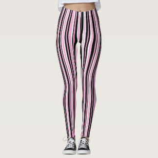 Pink and Black Stripes Leggings