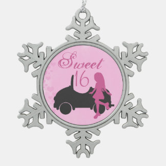 Pink and Black Sweet 16 Silhouette Girl and Car Pewter Snowflake Ornament