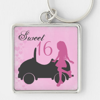 Pink and Black Sweet 16 Silhouette Girl with Car Keychain