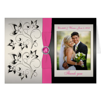 Pink and Black Thank You Card with Photo