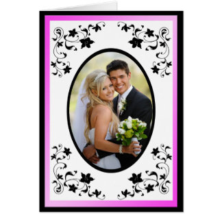 Pink and Black Thank You card with Photo Insert