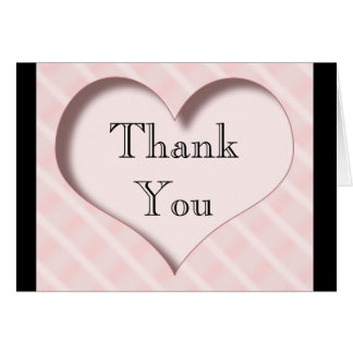 Pink And Black Thank you Heart & Stripes Card