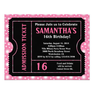 Pink and Black Ticket Sweet 16 or Any Age Personalized Announcements